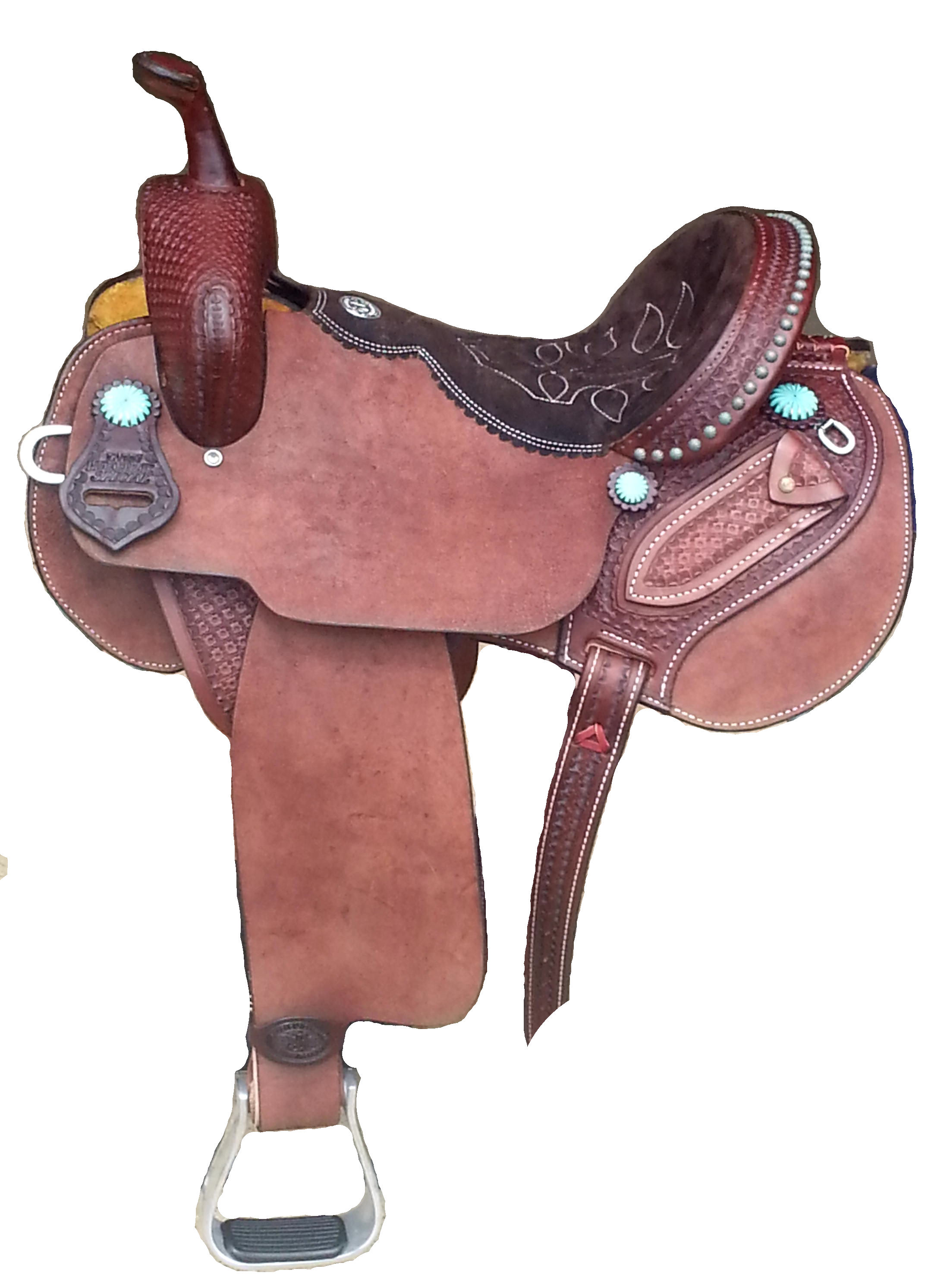 LM Special Brown leather with turq conchos