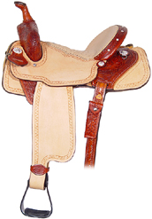 SLM211 1/4 tooled Chestnut leather Oryx Ostrich seat I-Beam Borders